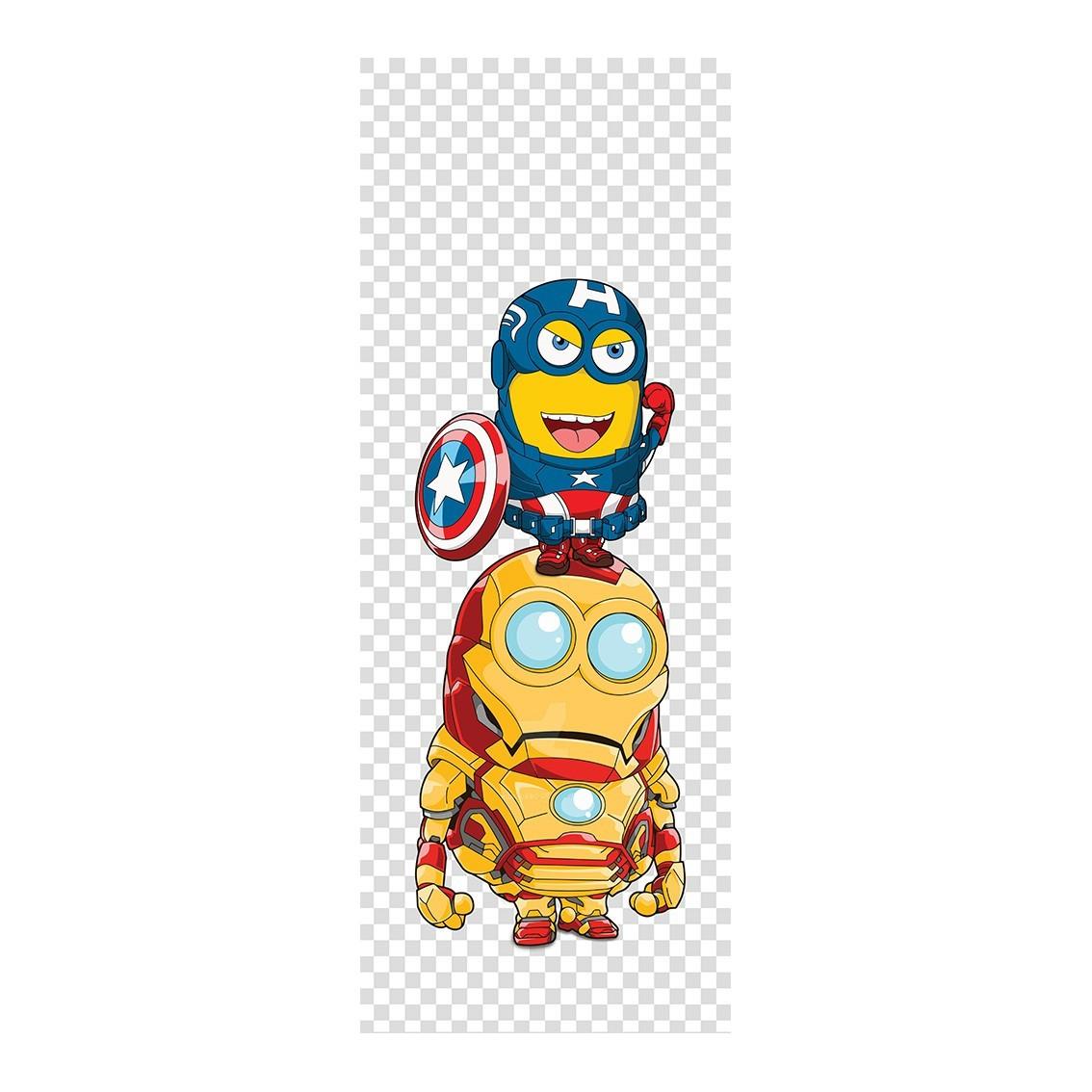 """Adesivo (Sticker) Para Porta """"Capitão América e Homem de Ferro"""": Minions - Exclusivo"""