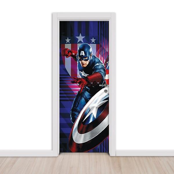 Adesivo (Sticker) Para Porta Capitão América: O Primeiro Vingador - Marvel