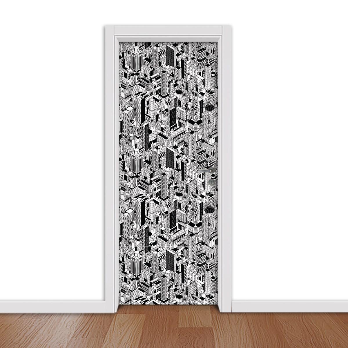 Adesivo (Sticker) Para Porta: Desenho Cidade (Preto e Branco)