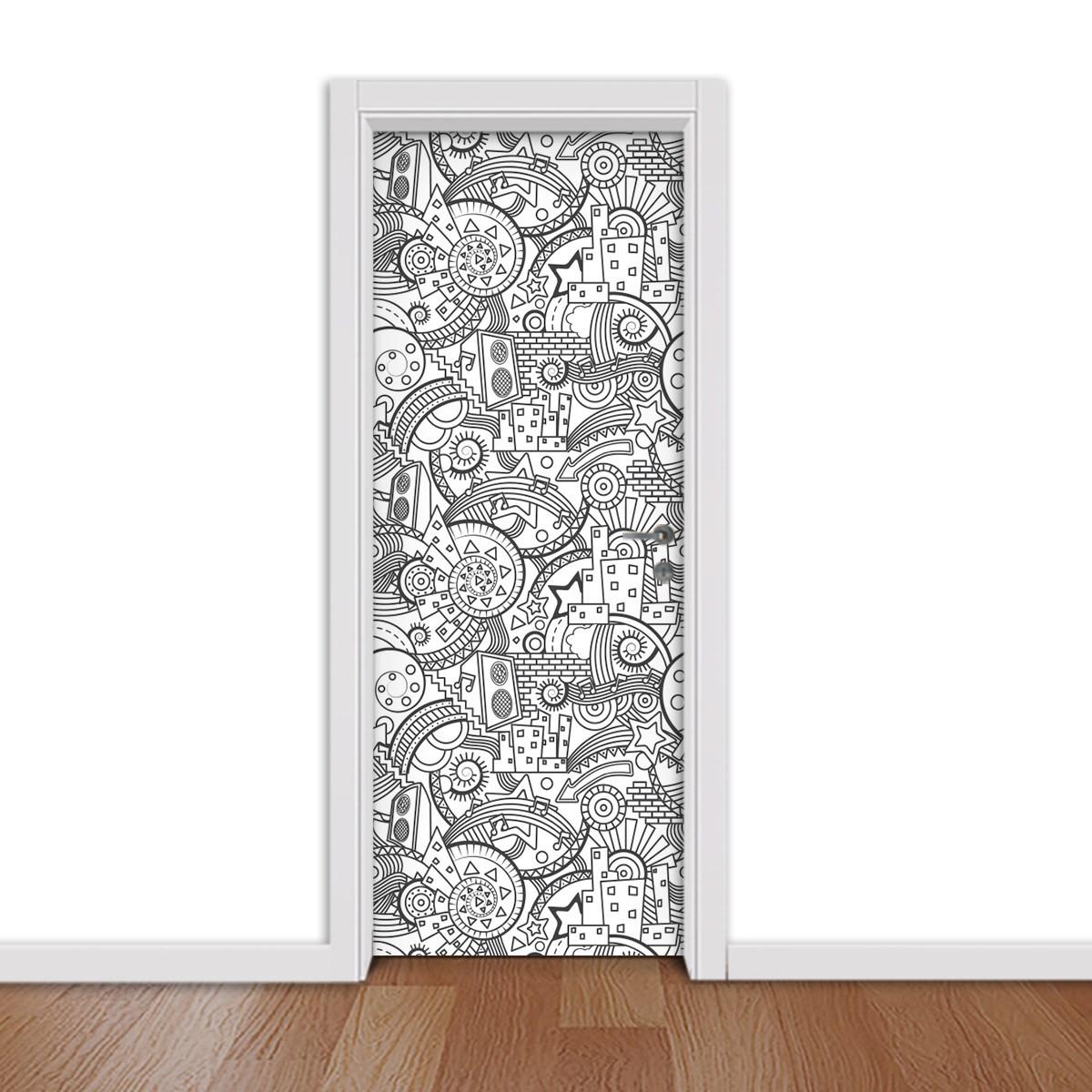 Adesivo (Sticker) Para Porta: Desenho (Preto e Branco)