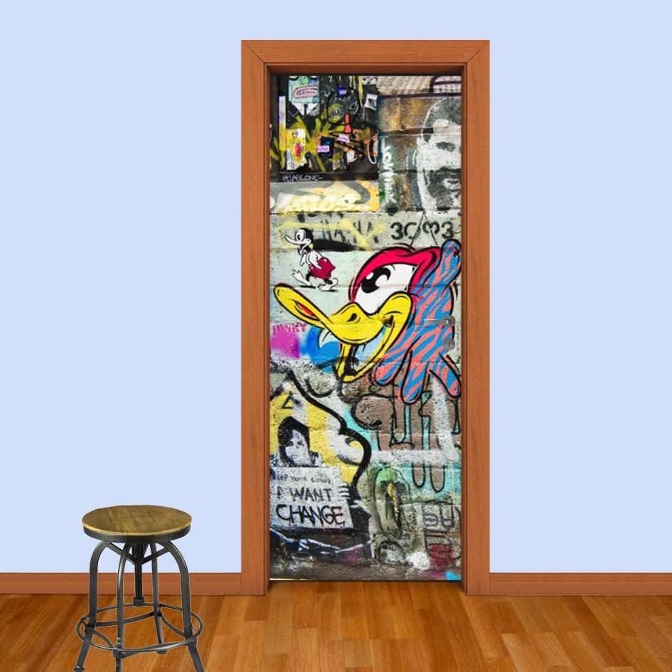 Adesivo (Sticker) Para Porta: Grafite Desenho Animado