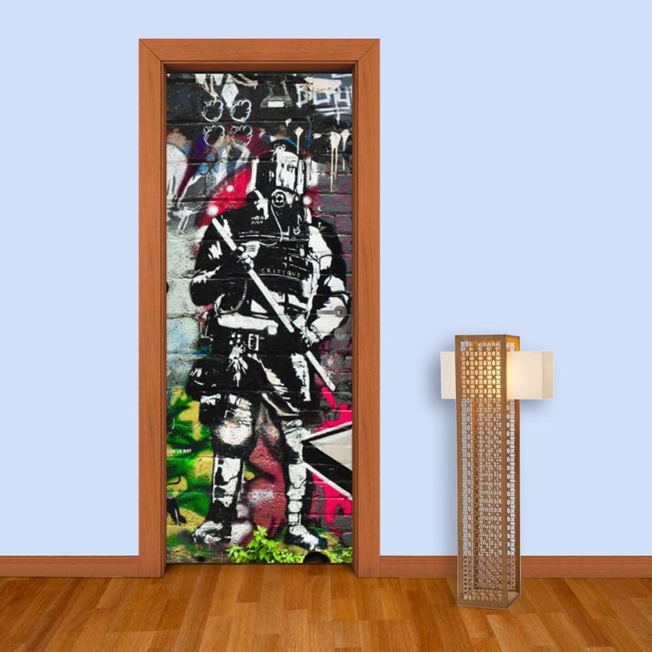 Adesivo (Sticker) Para Porta: Grafite Policial