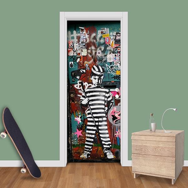 Adesivo (Sticker) Para Porta: Grafite Prisioneiro