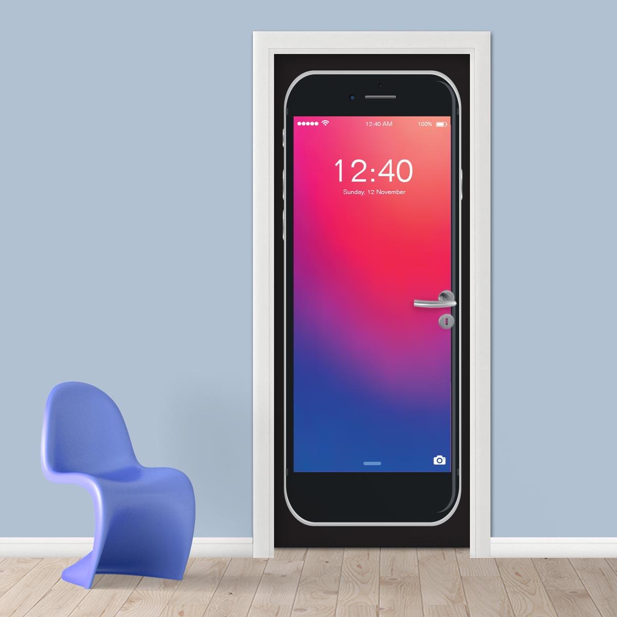 Adesivo (Sticker) Para Porta: Iphone Tela De Início