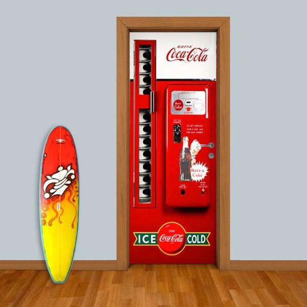 Adesivo (Sticker) Para Porta: Máquina Coca-Cola