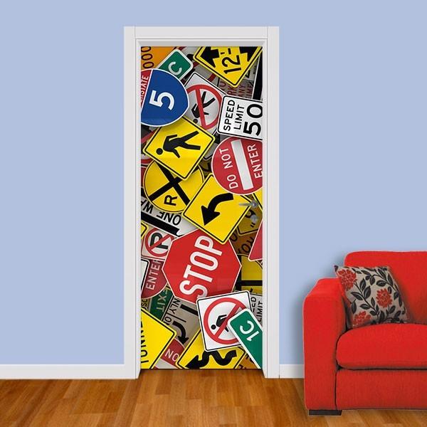 Adesivo (Sticker) Para Porta: Placas De Trânsito
