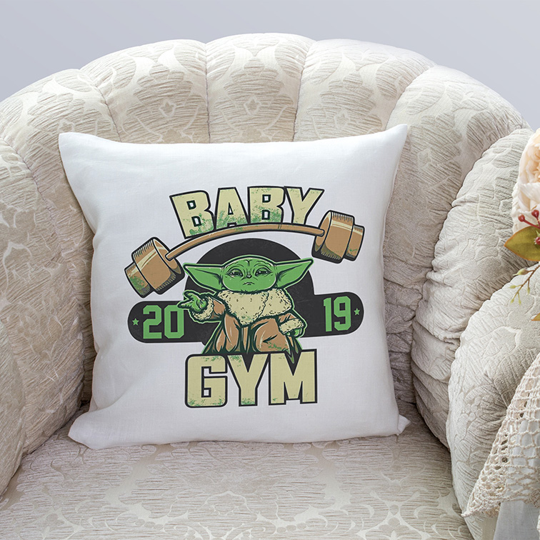Almofada Baby Yoda GYM Fitness: Star Wars (Branca) - EV