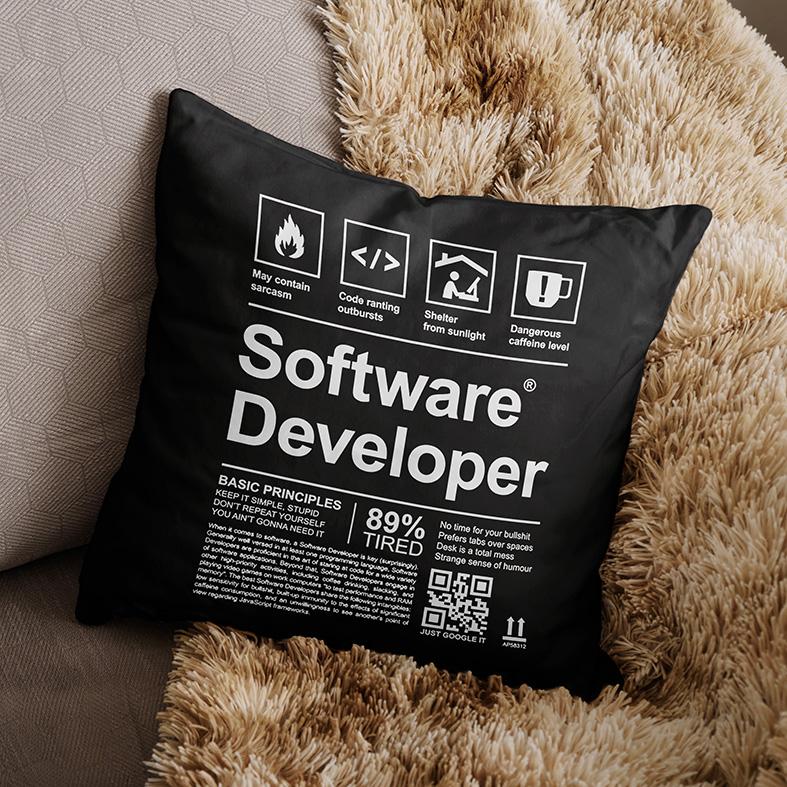 Almofada Desenvolvedor De Software Programação Desenvolvimento Linguagens HTML JAVA (Preta) - EV