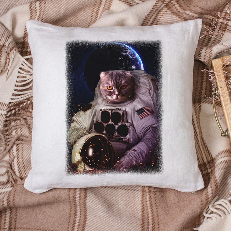 Almofada Gato Astronauta: Nasa Espaço (Branca) - EV