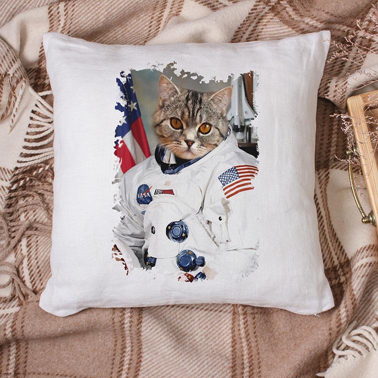 Almofada Gato Astronauta: Nasa EUA (Branca) - EV