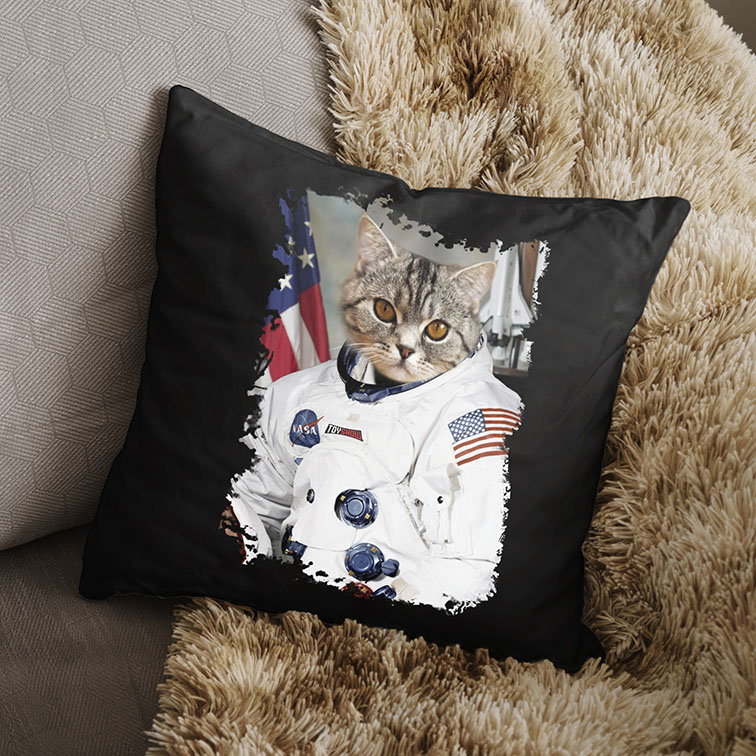 Almofada Gato Astronauta: Nasa EUA (Preta) - EV