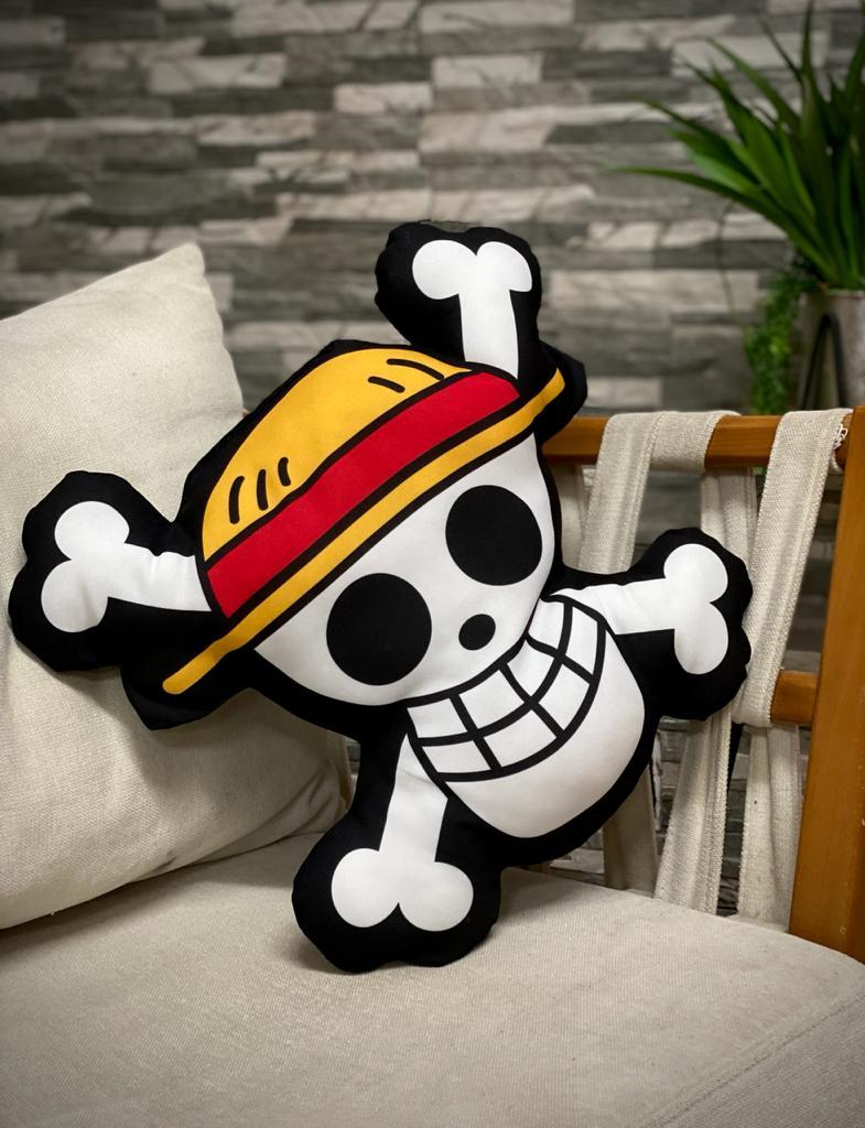 Almofada Jolly Roger Mugiwara: Bandeira Pirata Chapéu de Palha One Piece Pequeno - Anime Mangá Pequena