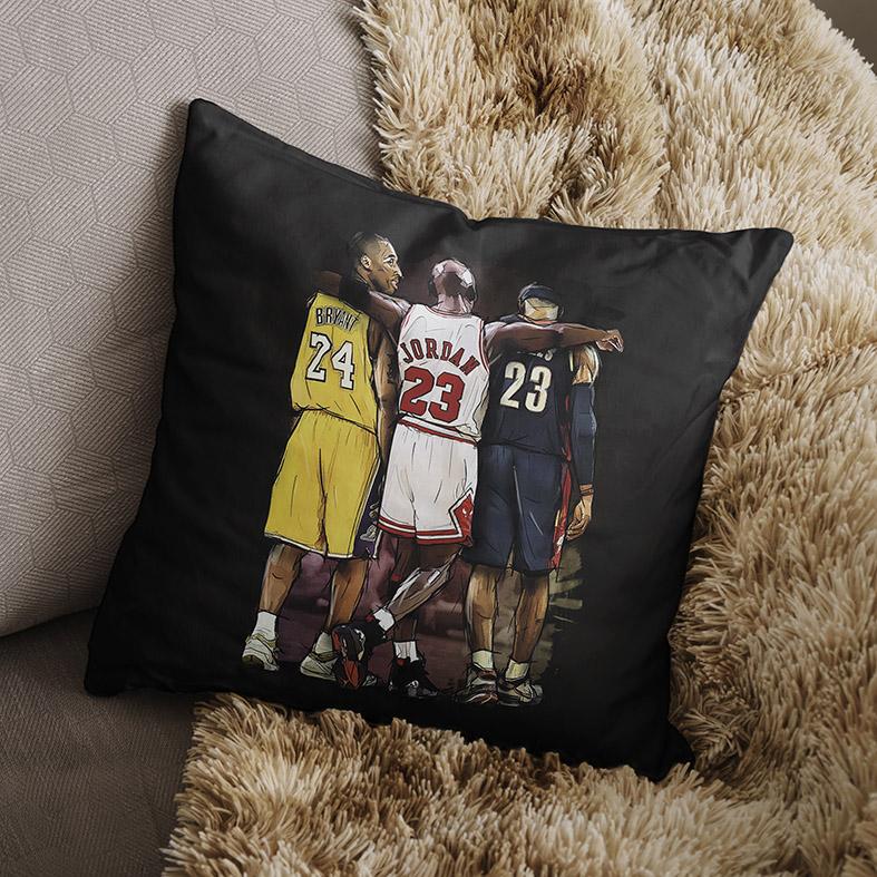 Almofada Kobe Bryant Michael Jordan Lebron James Basquete: NBA (Preta) - EV
