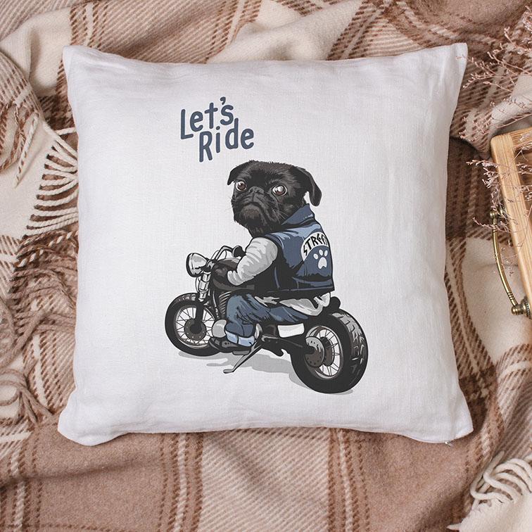 Almofada Let's Ride Pug Motorcycle Street (Branca) - EV