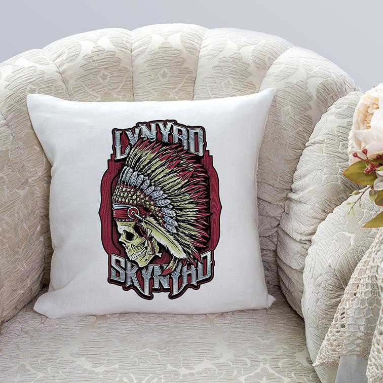 Almofada Lynyrd Skynyrd American Rock Band Skull (Branca) - EV