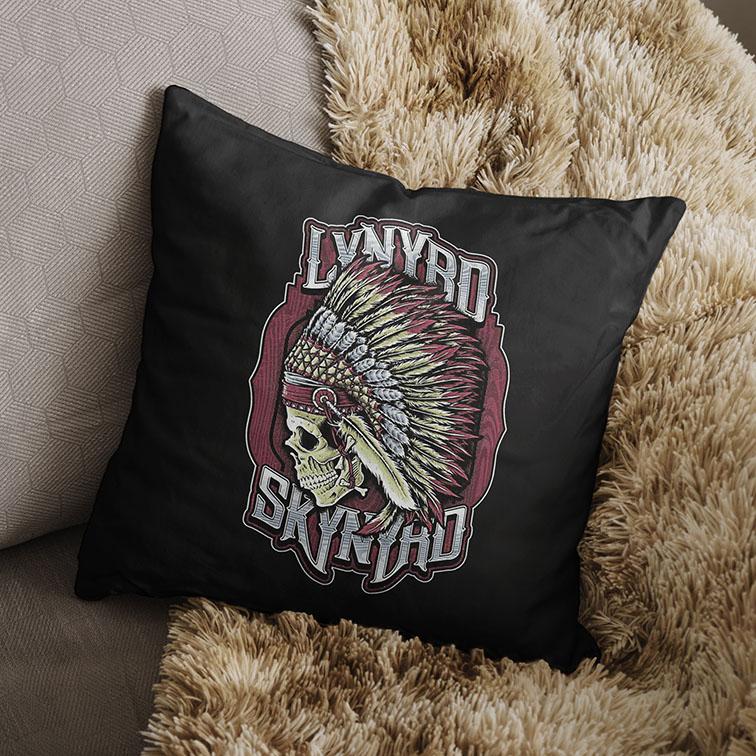 Almofada Lynyrd Skynyrd American Rock Band Skull (Preta) - EV