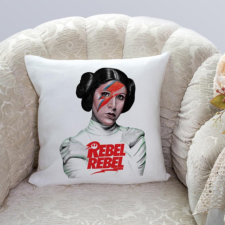 Almofada Princesa General Leia Bowie Organa Princess Rebel Rebelde David Bowie: Star Wars (Branca) - EV
