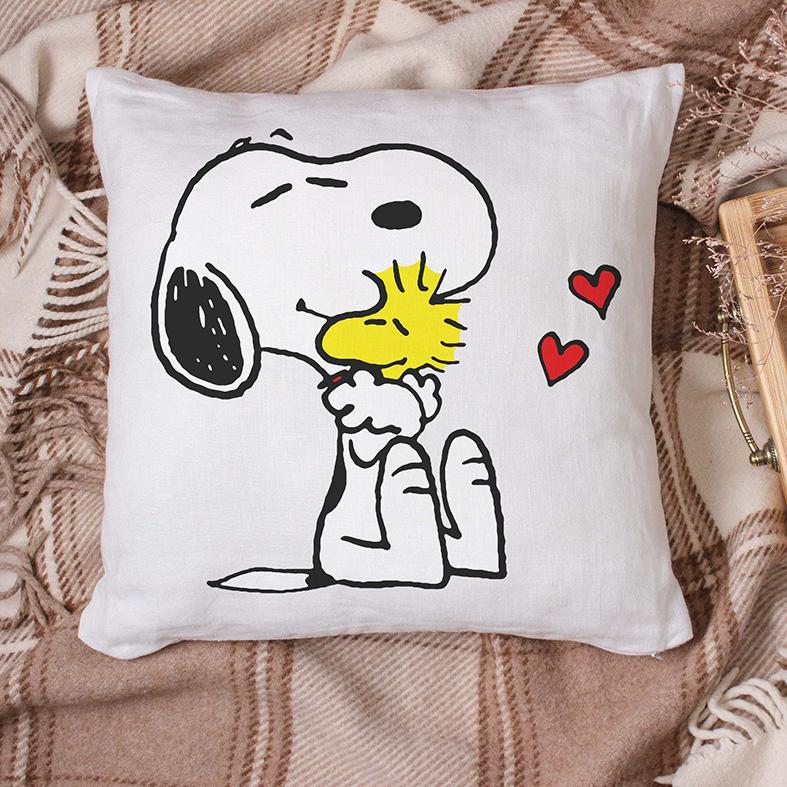 Almofada Snoopy E Woodstock Abraço Corações Pássaro Cachorro Bird Charlie Brown (Branca) - EV