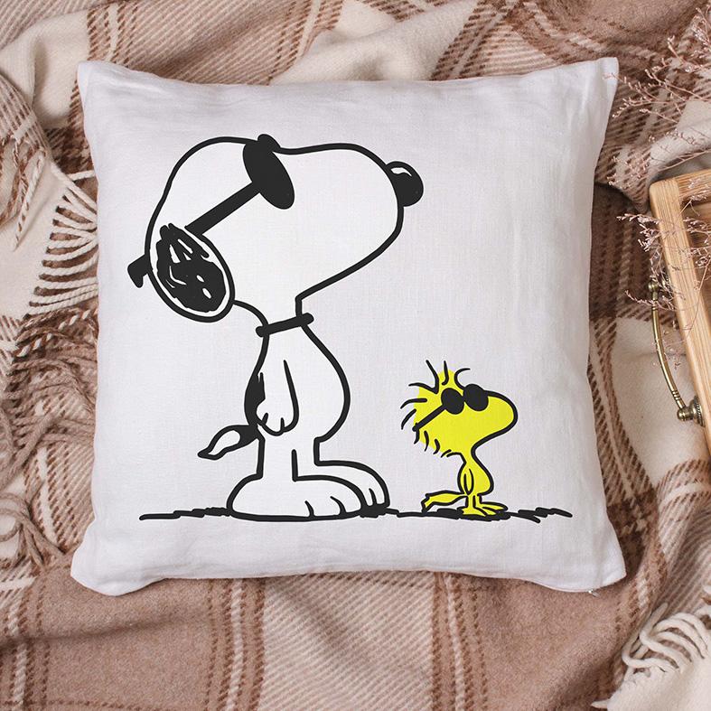 Almofada Snoopy E Woodstock Óculos Escuros Pássaro Cachorro Bird Charlie Brown (Branca) - EV