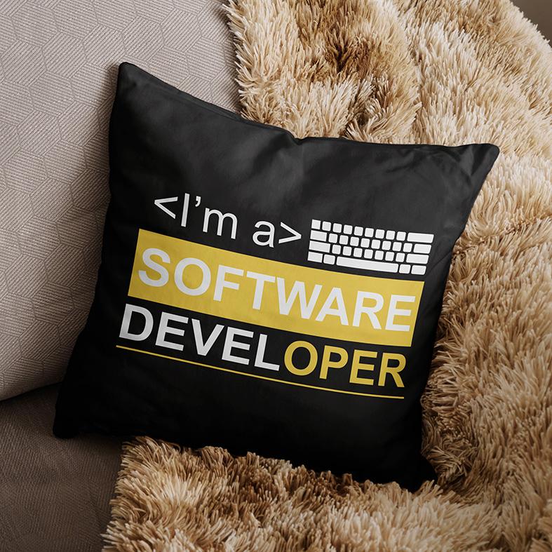 Almofada Sou Um Desenvolvedor De Software I'm A Software Developer Dev (Preta) - EV