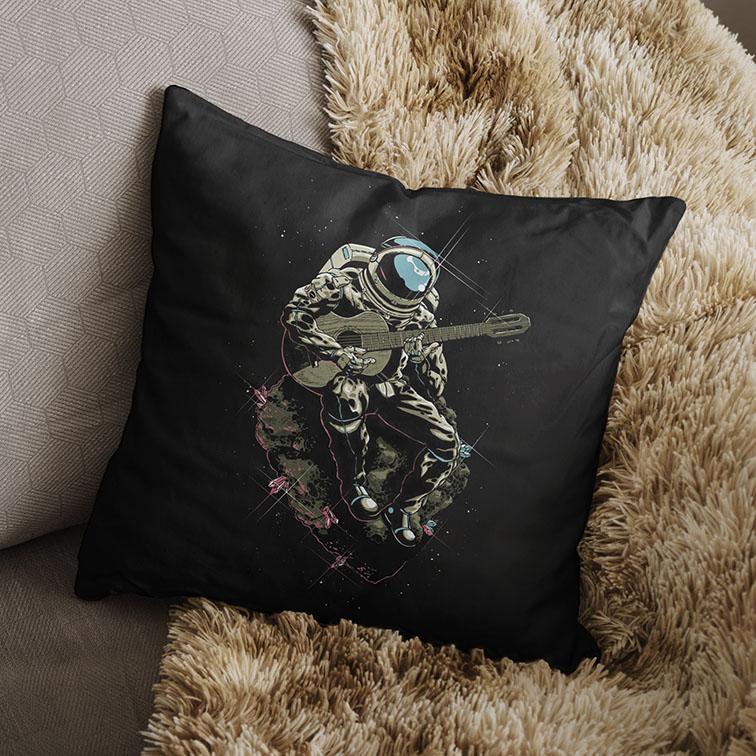 Almofada Space Nasa Guitar Music Song Astronauts Astronauta Violão (Preta) - EV