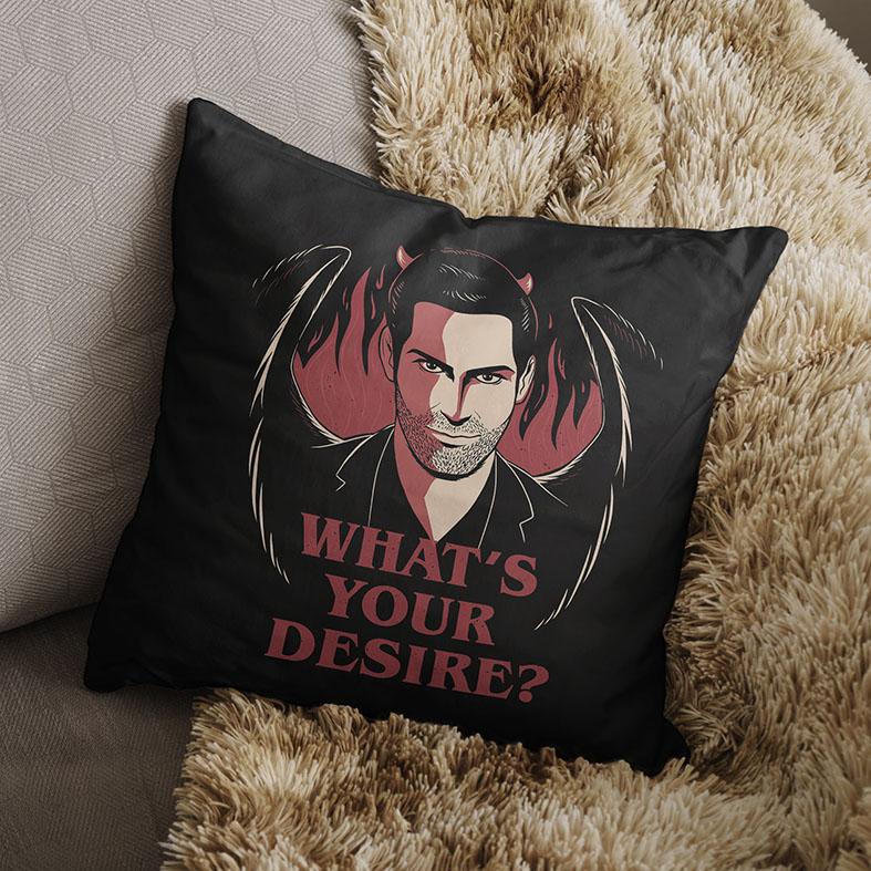 Almofada Whats's Your Desire The Devil Lucifer Morningstar Qual É O Seu Desejo Netflix (Preta) - EV