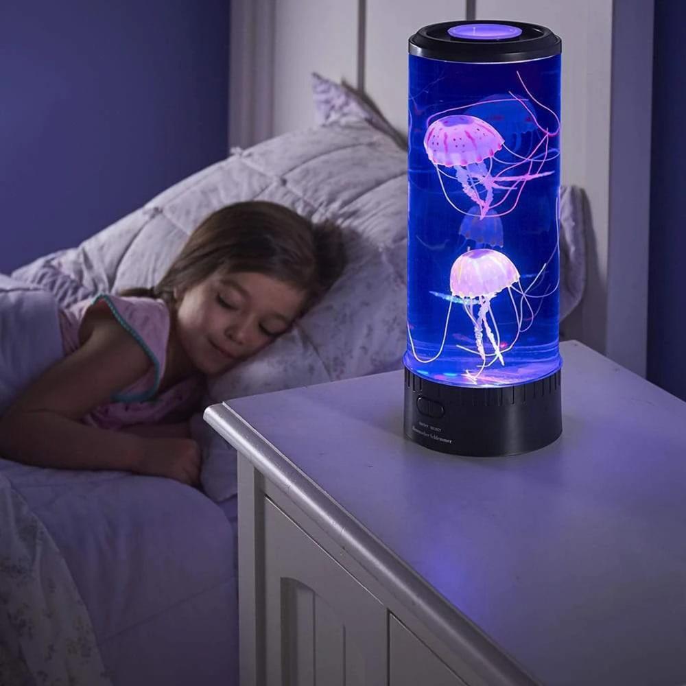 Aquário Led Night Light com Agua Viva Medusas Artificiais Super Reais Luminária para Casa  - EV