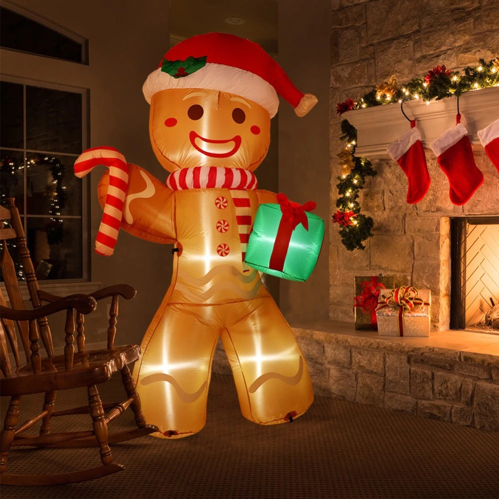 Balão Inflável Decorativo Natal Boneco de Biscoito Gingerbread Com LED 2 Metros - MKP