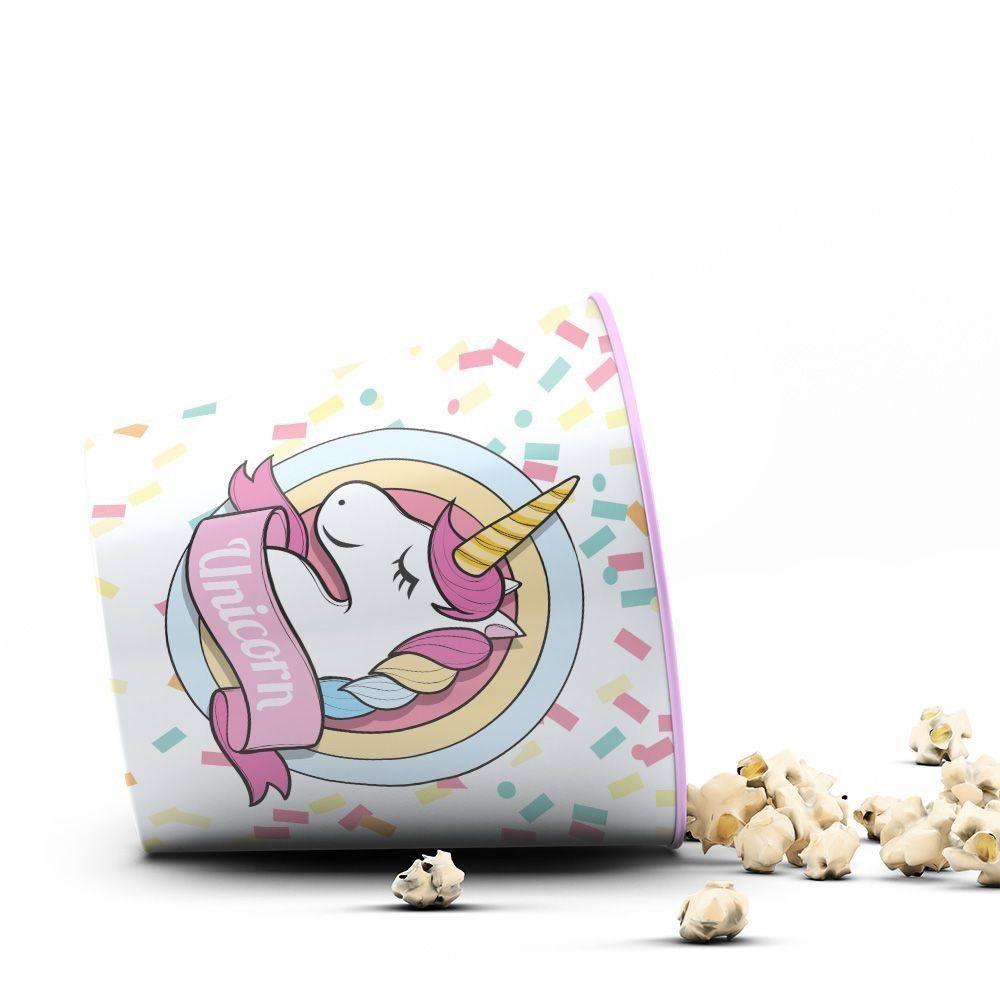 Balde de Pipoca Unicórnio Confete