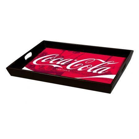 Bandeja Coca-Cola Logo Over Landscape Vermelho