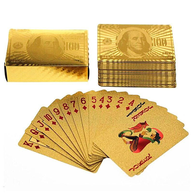 Baralho De Cartas 100 Dólares (Dourado)