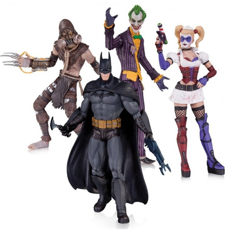 Batman Arkham Asylum Pack Batman Harley Quinn Scarecrow Joker 4 Figuras - Dc Collectibles