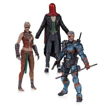 Batman Arkham Origins Pack com 3 Copperhead, Joker e Unmasked Deathstroke - DC Collectibles