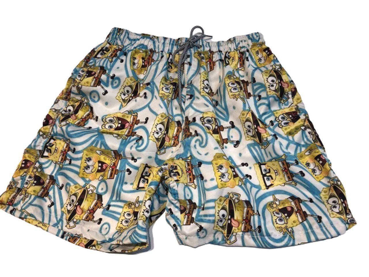 Bermuda (Shorts Praia) Bob Esponja (Azul e Branco)