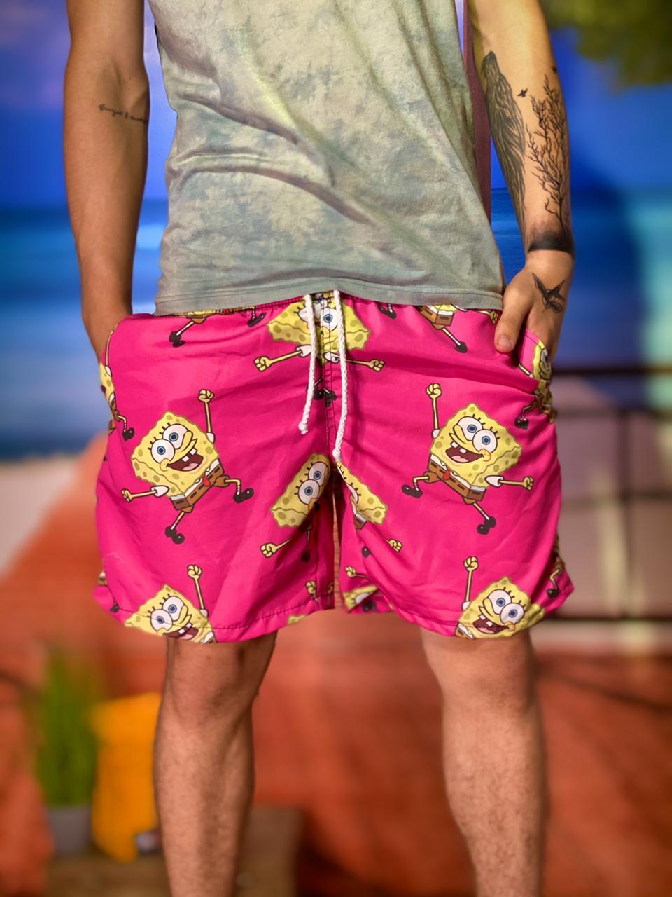 Bermuda (Shorts Praia) Bob Esponja (Rosa) - EV