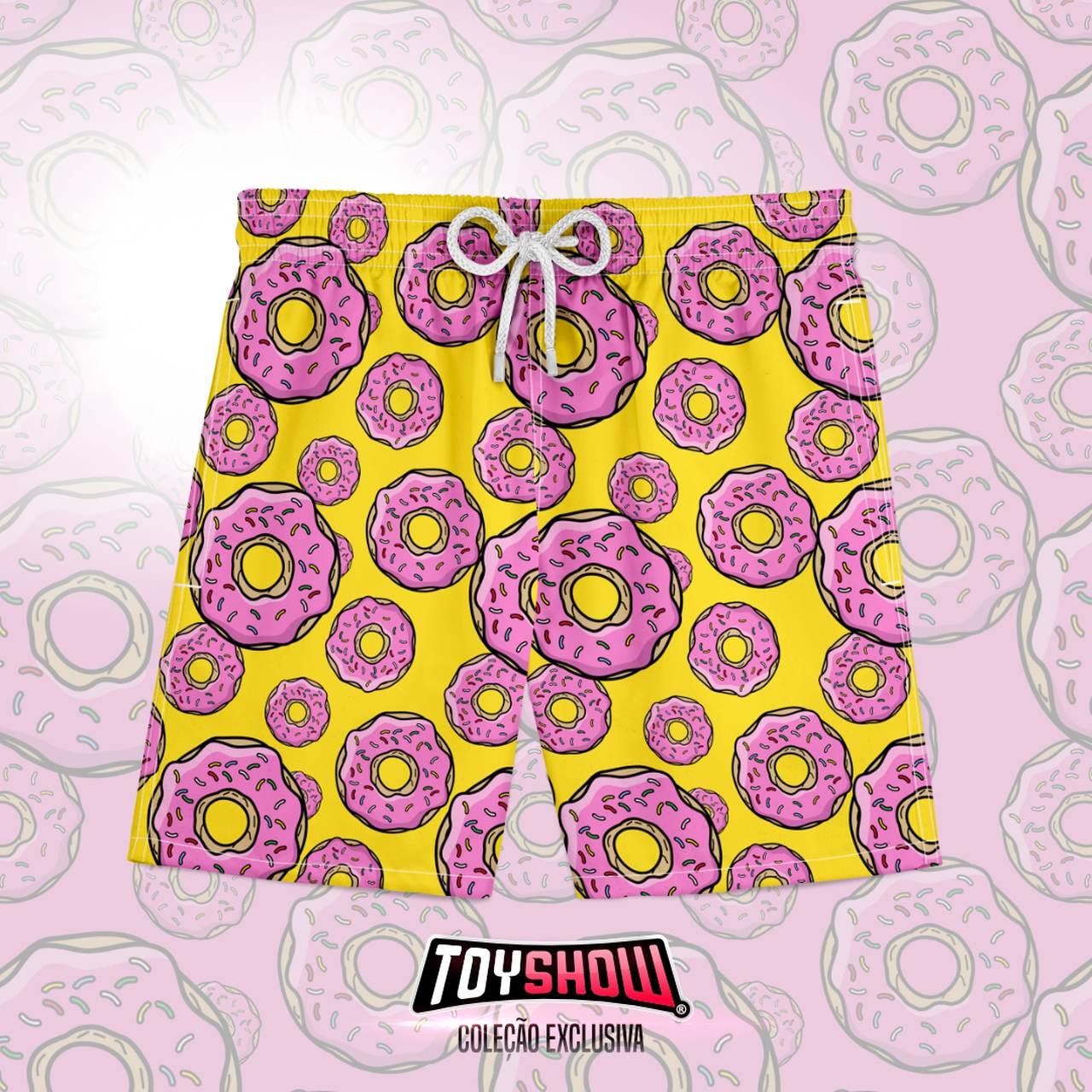 Bermuda (Shorts Praia) Donuts (Amarela): Os Simpsons