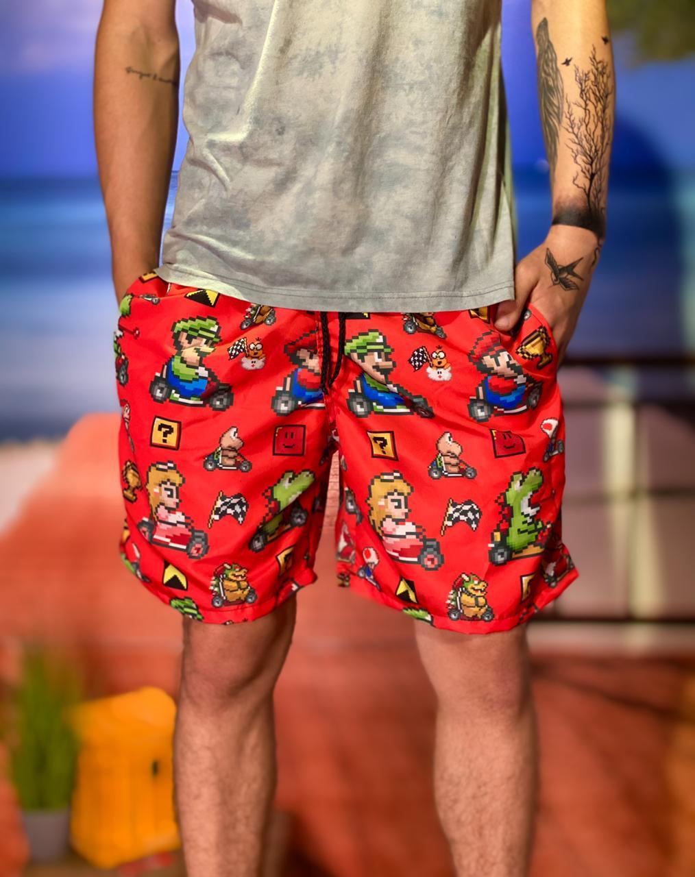 Bermuda (Shorts Praia) Personagens: Super Mario Kart (Vermelho) - EV