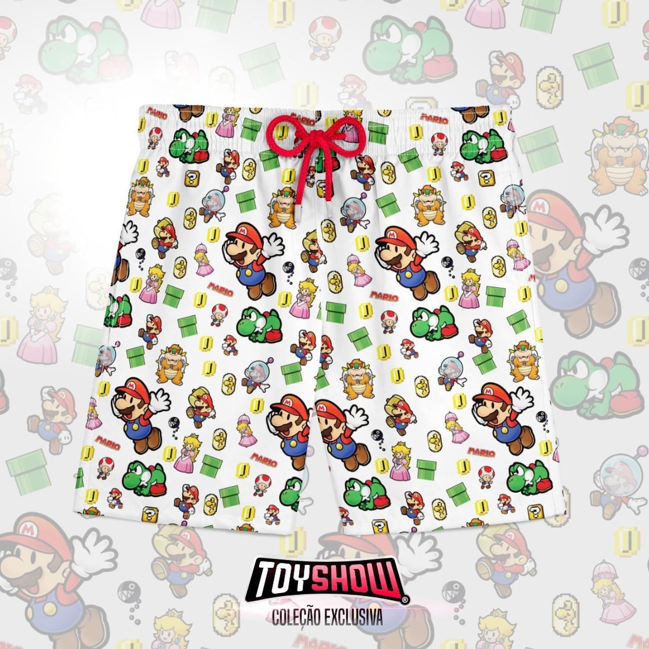 Bermuda (Shorts Praia) Personagens: Super Mario World (Branco)
