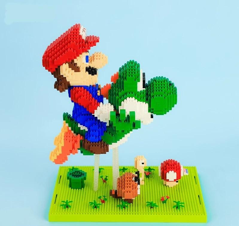 Bloco de Montar Diorama 3D Super Mario e Yoshi : Super Mario World 3300 Peças No.16168  - EVALI