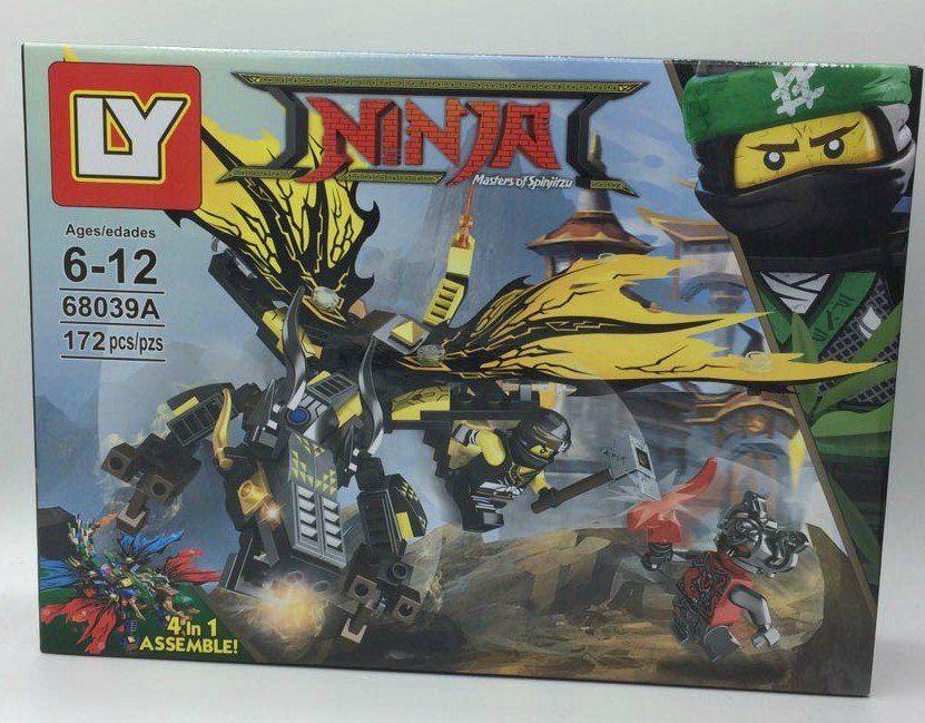 Bloco de Montar Dragão Ninja Amarelo - 172 pçs