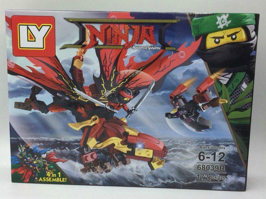 Bloco de Montar Dragão Ninja Vermelho - 172 pçs
