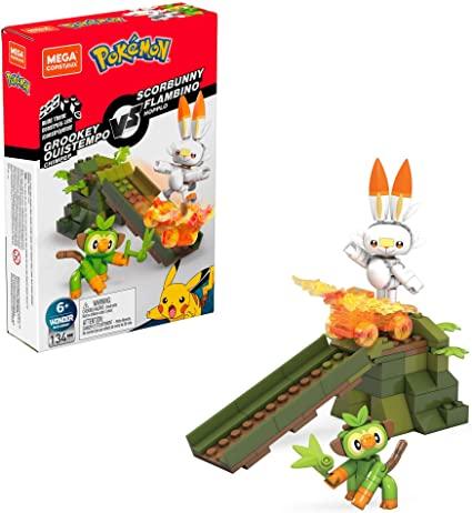 Bloco de Montar Grookey vs. Scorbunny: Mega Construx Pokémon - Mattel