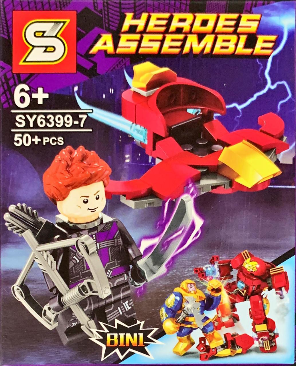 Bloco de Montar Heroes Assemble: Gavião Arqueiro (SY6399-7) - (50 Peças)