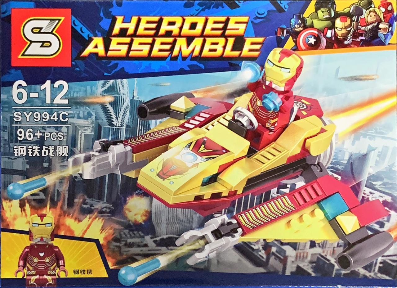 Bloco de Montar Heroes Assemble: Homem de Ferro (Iron Man) (SY994C) - (96 Peças)