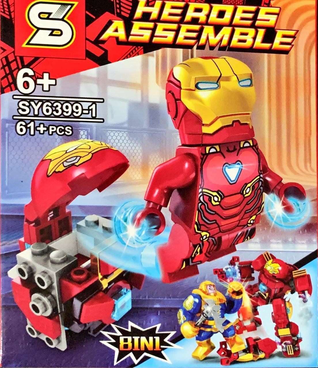 Bloco de Montar Heroes Assemble: Homem de Ferro (SY6399-1) - (61 Peças)