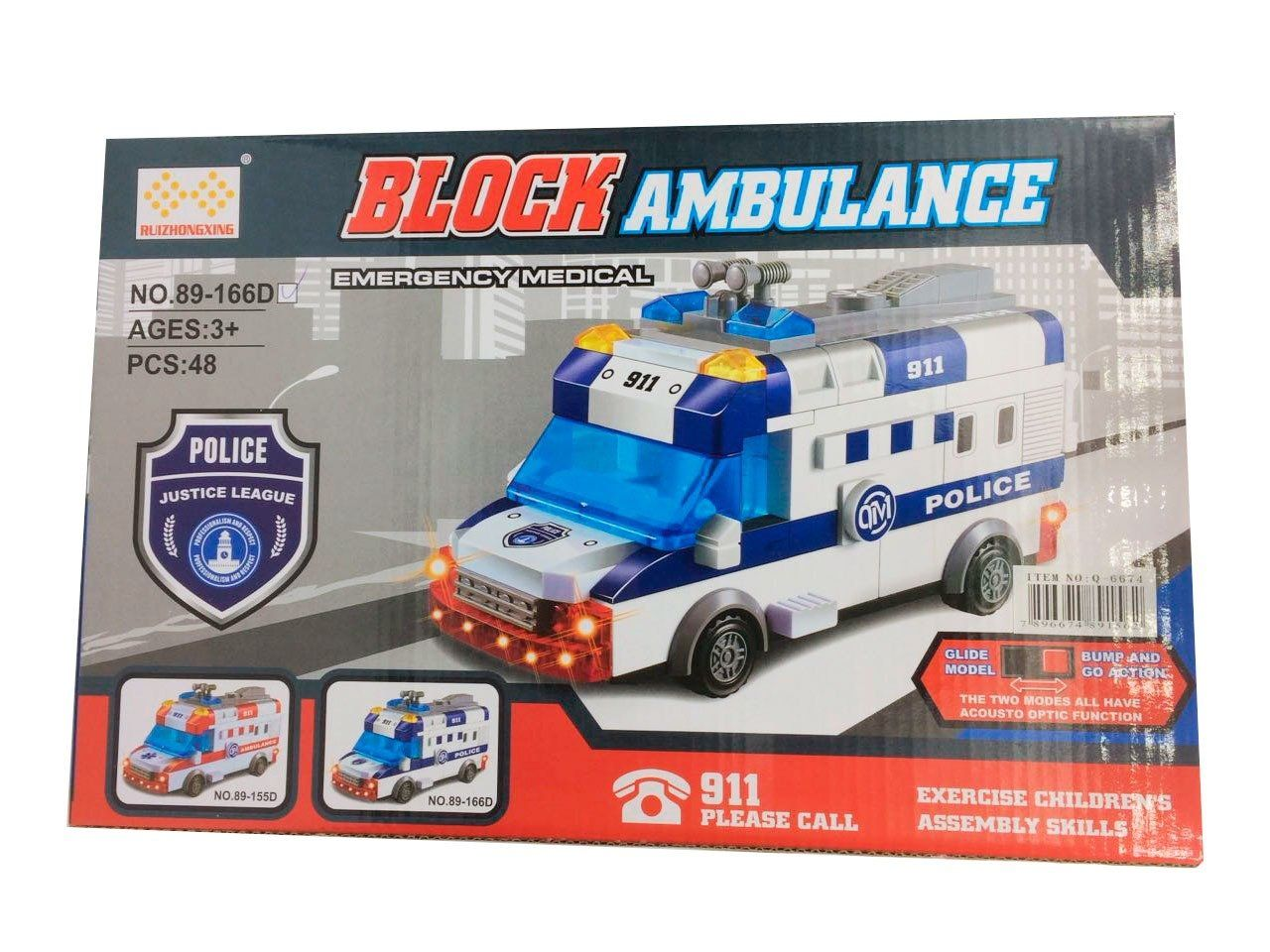 Bloco de Montar Lego Ambulância (Com Luz) - (48 Pçs)