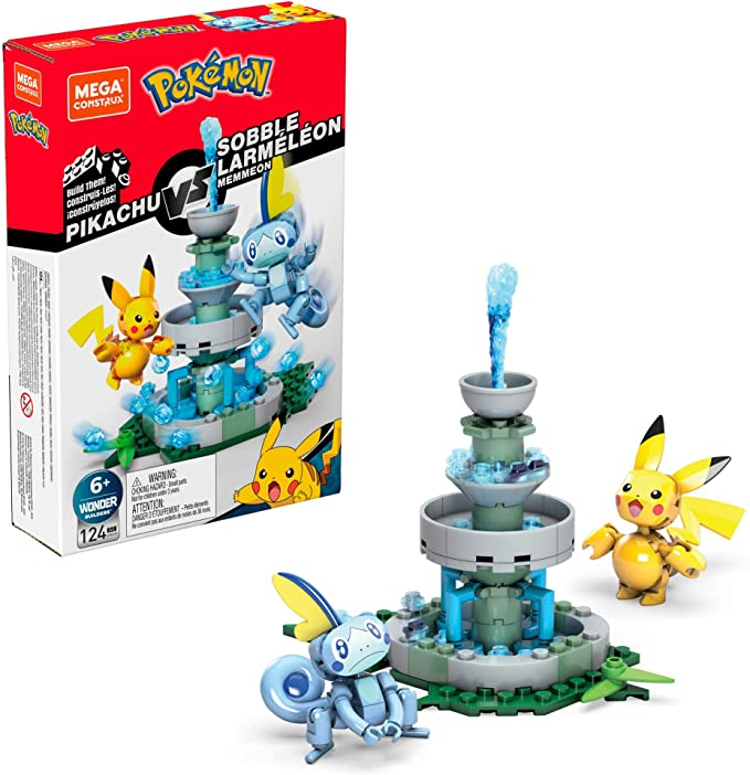 Bloco de Montar Pikachu vs. Sobble: Mega Construx Pokémon - Mattel