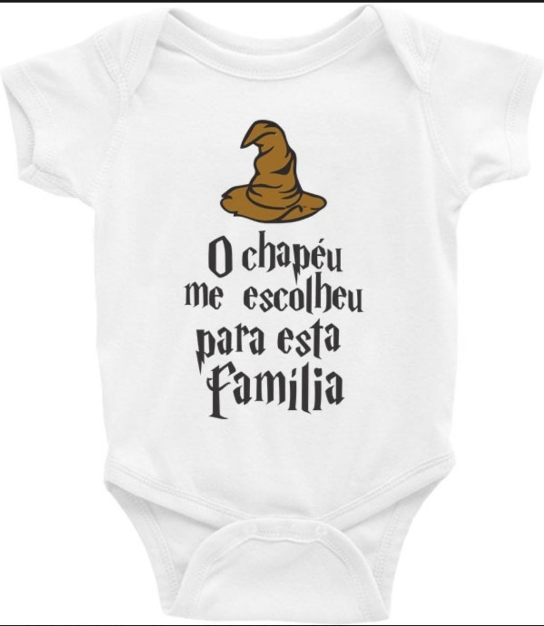 Body Bebê Geek: Chapéu Seletor '' O Chapéu Me Escolheu  Para Esta Família'' - Harry Potter (Branco)  - EV