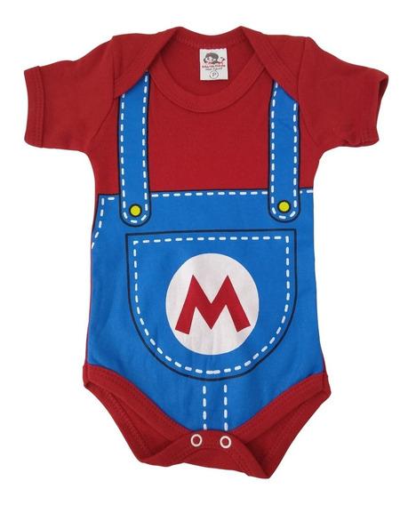 Body Bebê Geek Macacão Mario: Super Mario Bros Vermelho