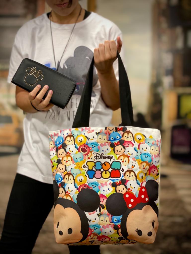 Bolsa Com Zíper Tsum Tsum: Mickey e Minnie - Disney